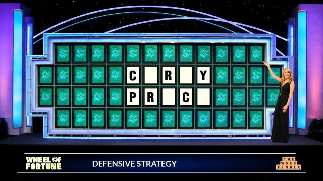 """A """"Wheel of Fortune"""" style puzzle showing Carey Price's name with the vowels blank"""