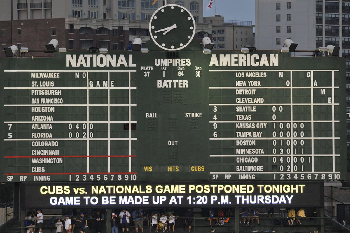 The scoreboard alerts fans that the game between the Washington Nationals and the Chicago Cubs has been postponed because of rain on August 8, 2011 at Wrigley Field in Chicago, Illinois.  (Photo by David Banks/Getty Images)