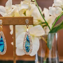 <b>LK Designs</b> turquoise earrings, $150.