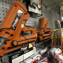 In this Thursday, March 15, 2012 photo, tools are displayed at the Fairmount Hardware in Philadelphia. Orders for durable goods dropped 4.2 percent in March, the steepest fall since January 2009, the Commerce Department said Wednesday, April 25, 2012. (AP Photo/Matt Rourke)