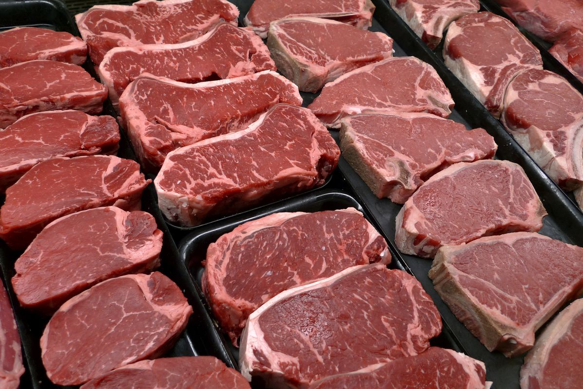 In this Jan. 18, 2010 file photo, steaks and other beef products are displayed for sale at a grocery store in McLean, Va. Republicans are increasingly using food — especially beef — as a cudgel in the culture war.