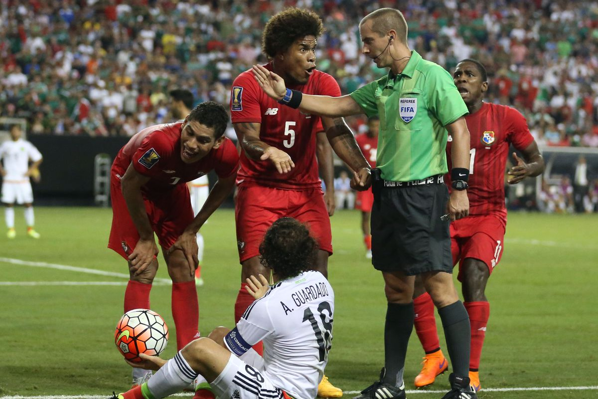 Panama arguing with the official, the lasting image from a surreal semi-final night at the Gold Cup.