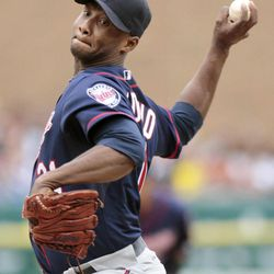 Minnesota Twins pitcher Samuel Deduno works against a Detroit Tigers batter during the second inning of a baseball game Saturday, Sept. 22, 2012, in Detroit.