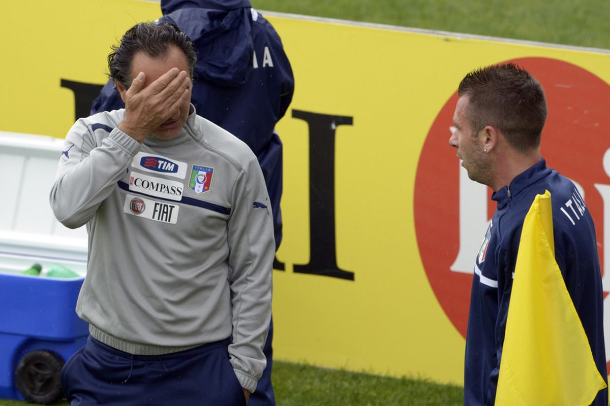 FLORENCE, ITALY - MAY 23:  Head coach Cesare Prandelli of Italy and Antonio Cassano (R) during a training session at Coverciano on May 23, 2012 in Florence, Italy.  (Photo by Claudio Villa/Getty Images)