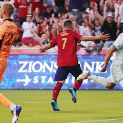 Real Salt Lake forward Bobby Wood (7) celebrates his goal in a game against the Colorado Rapids at Rio Tinto Stadium in Sandy on Saturday, July 24, 2021.