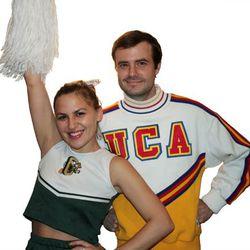 On her: Vintage cheerleading skirt, $45. Vintage cheerleading top, $28. On him: Vintage cheerleading sweater, $88.