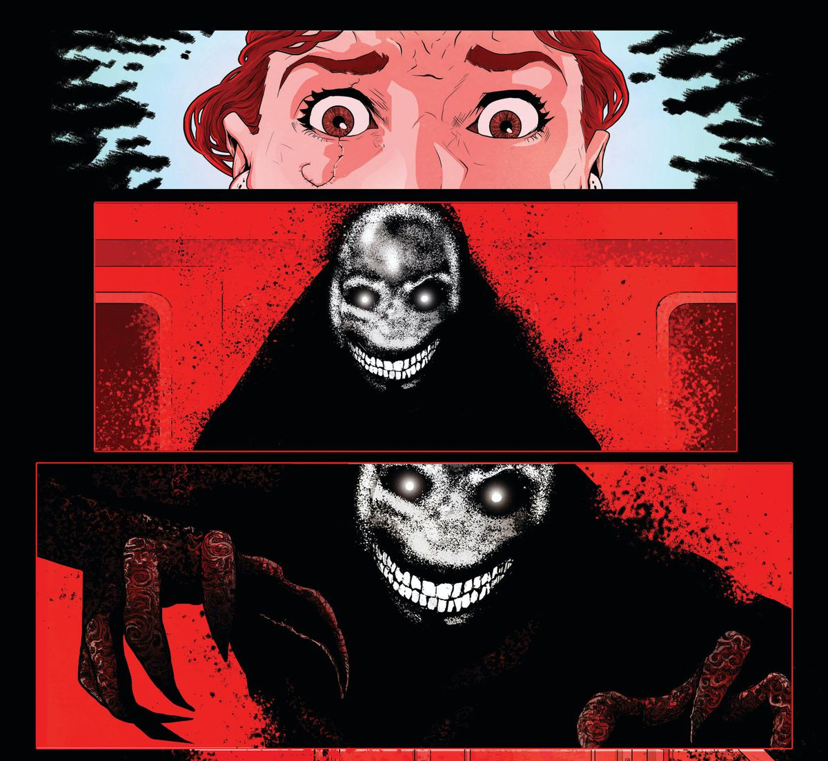 Daisy's eyes go wide in fear. In her reddened vision, she sees a dark humanoid figure with clawed hands and a white rictus grin, the more digital style to it's shape giving it an unsettling contrast with the rest of the art, in The Red Mother #2, Boom Studios (2020).