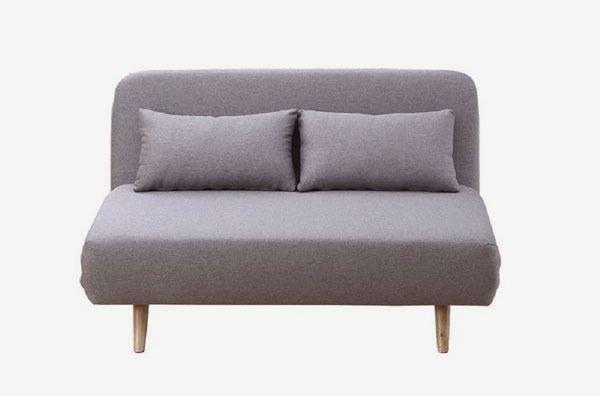 Small rounded gray sofa.
