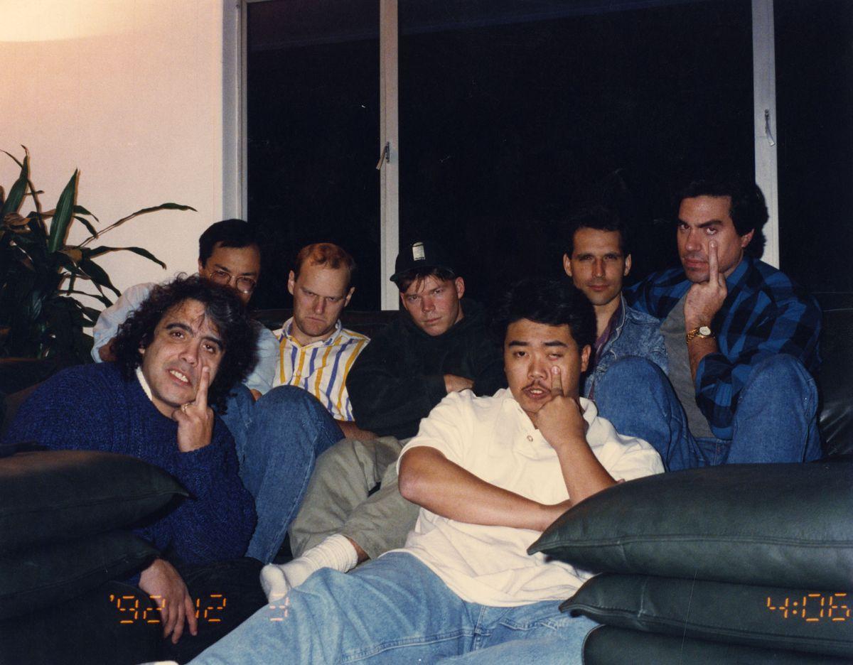 (Left to right) Valentino, Lee, Larsen, Liefeld, Portacio, McFarlane, Silvestri in December 1992 (Courtesy ImageComics)