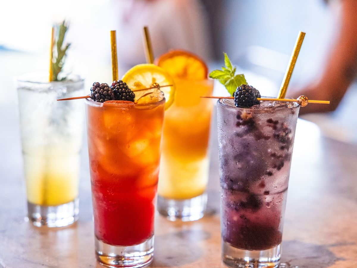 Colorful cocktails with lots of fruit.
