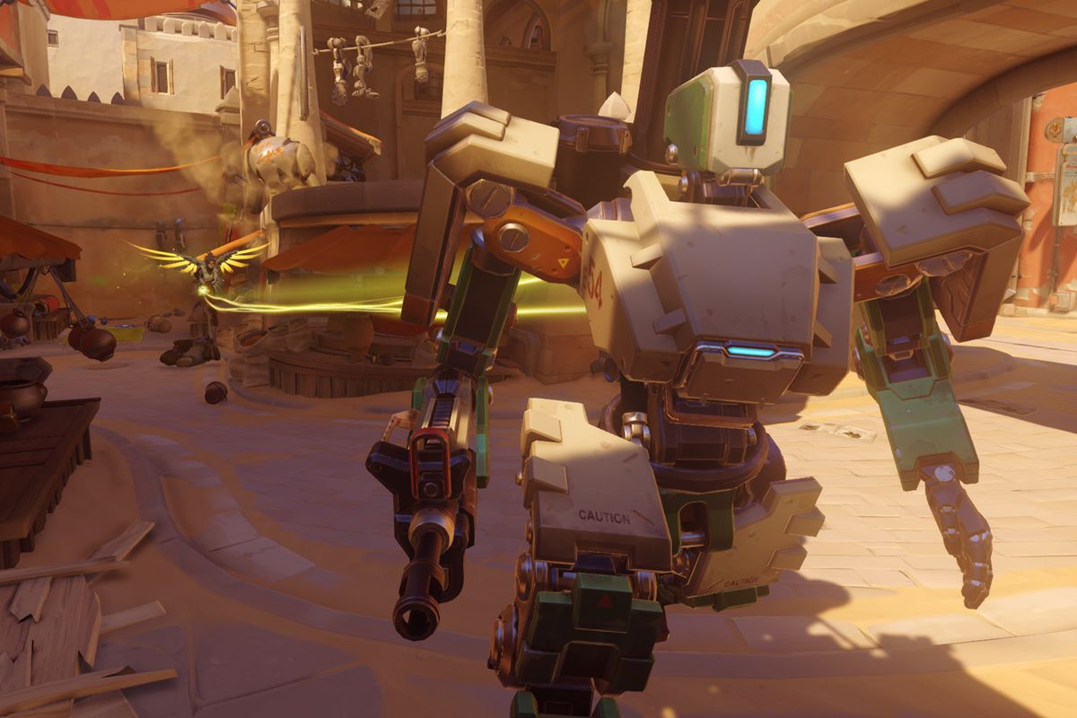 Overwatch - Bastion being healed by Mercy on the Temple of Anubis