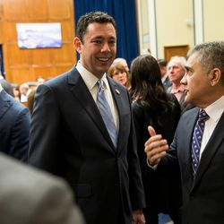 Rep. Jason Chaffetz, R-Utah, talks to guests during a Utah delegation reception in the House Oversight and Government Reform Committee Room in the Rayburn Building in Washington, D.C., on Thursday, Jan. 19, 2017.