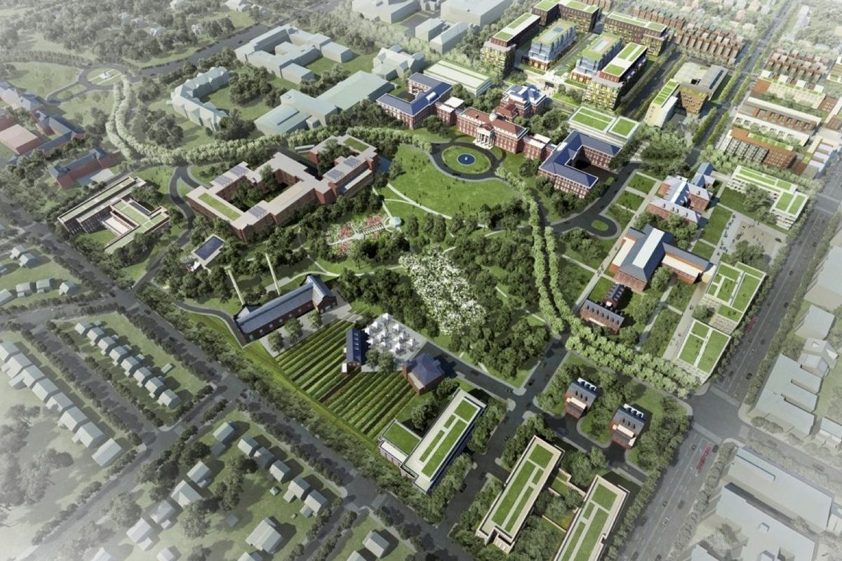 An aerial view of the proposed development at Walter Reed