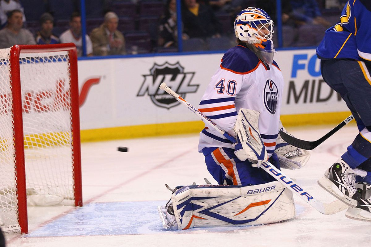 You know where that puck's going. It's going to its natural habitat - the Oilers' goal.