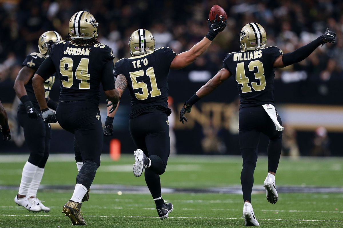 NEW ORLEANS, LA - DECEMBER 24: Manti Te'o #51 of the New Orleans Saints  celebrates after recovering a fumble during the second half of a game  against the Atlanta Falcons at the Mercedes-Benz Superdome.
