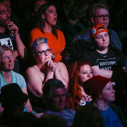 """A crowd of about 3,000 people listens to Democratic National Committee Chairman Tom Perez speak during the """"Come Together and Fight Back"""" tour at the Rail Event Center in Salt Lake City on Friday, April 21, 2017."""