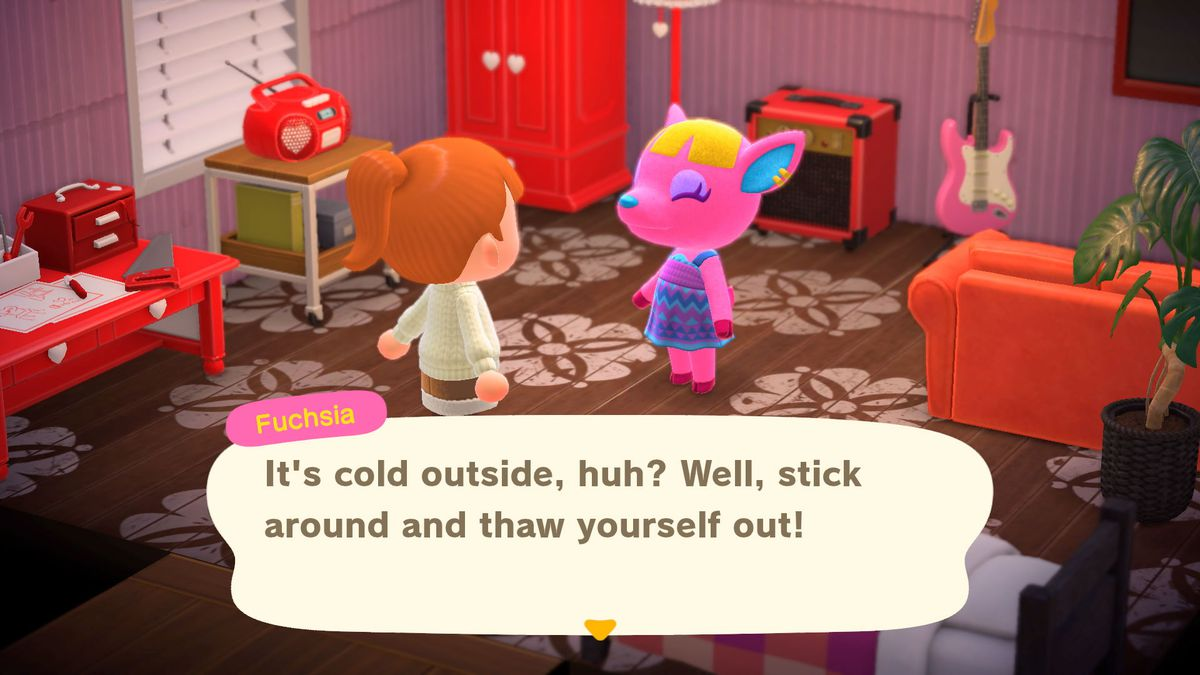 Animal Crossing - a villager helpfully tells a player they can stay and warm up