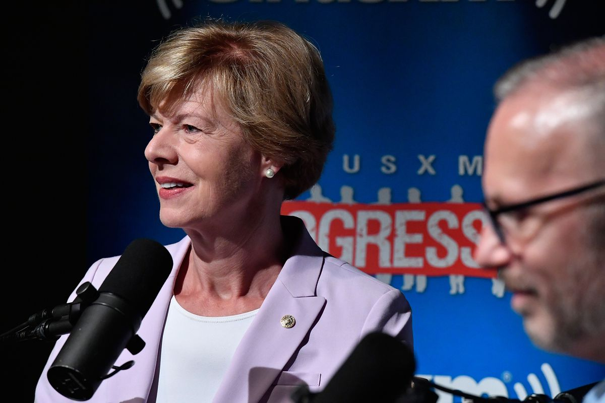 Senator Tammy Baldwin (D-WI) talks with SiriusXM Host Michelangelo Signorile during a town hall event on August 22, 2018 in Washington, DC.