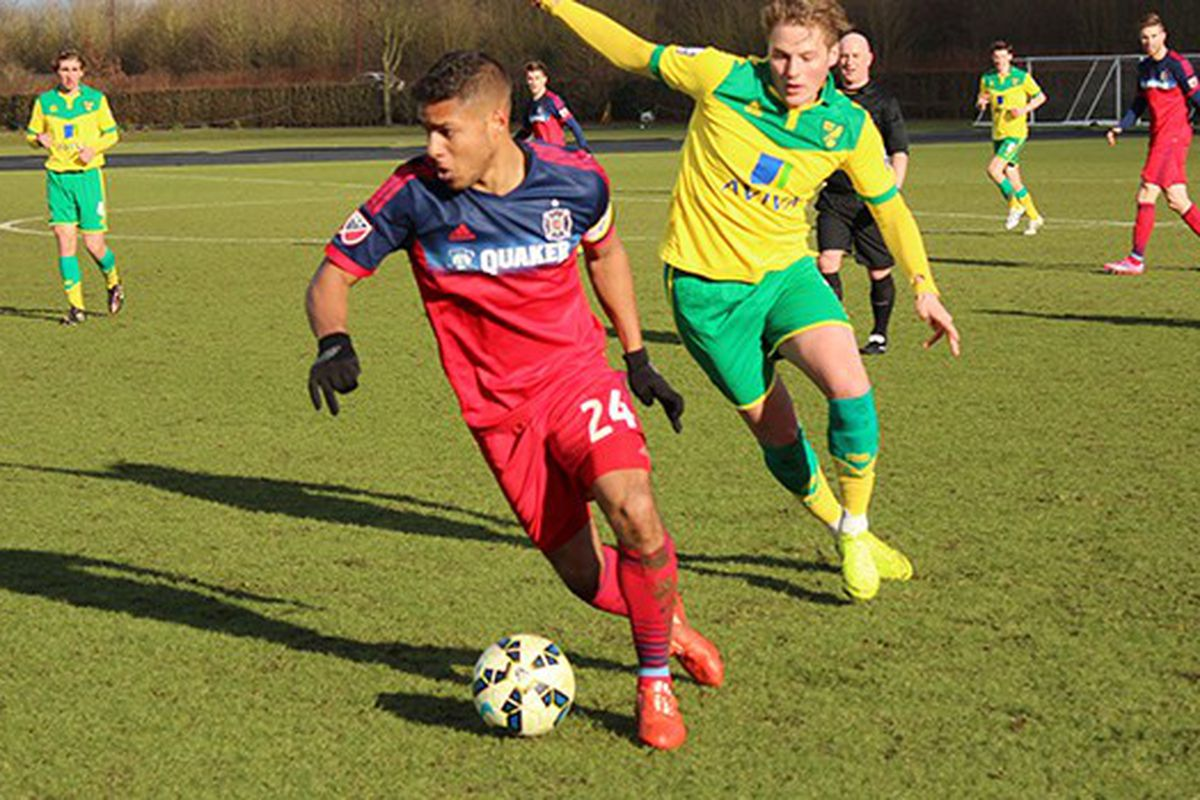 Our photographer barely got this film out of the UK ahead of ... oh, wait, no, that's not right. Here's Quincy Amarikwa soccering his soccer off in Thursday's closed-door scrimmage against Norwich City FC.