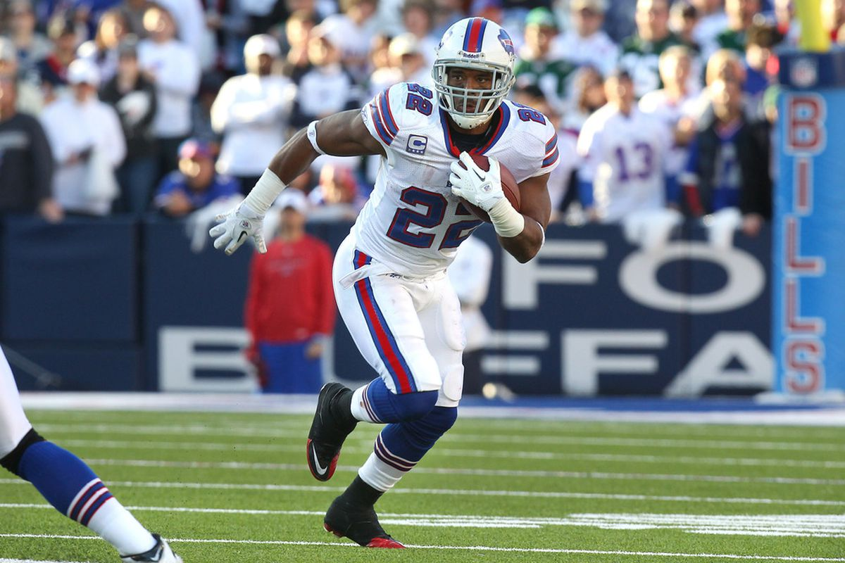 ORCHARD PARK, NY - NOVEMBER 6: Fred Jackson #22 of the Buffalo Bills carries the ball during NFL game action against the New York Jets at Ralph Wilson Stadium on November 6, 2011 in Orchard Park, New York. (Photo by Tom Szczerbowski/Getty Images)