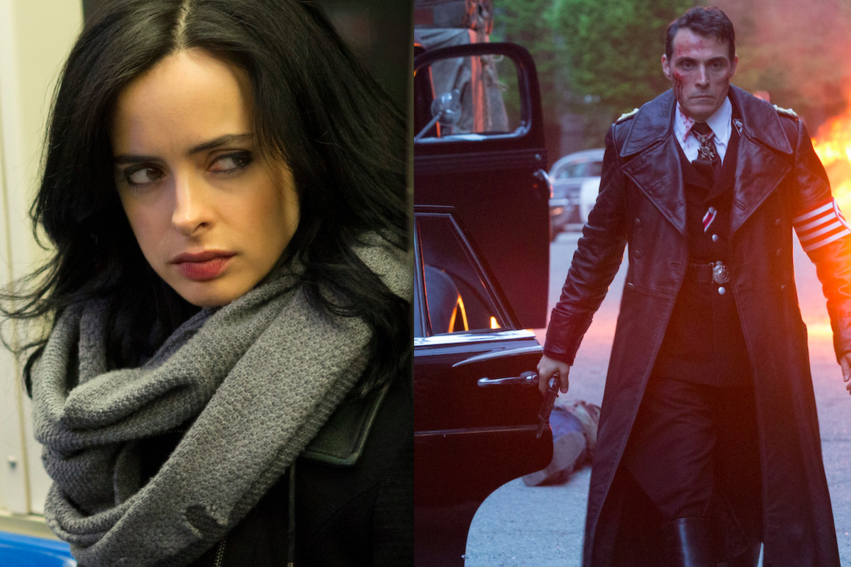 Jessica Jones (left) and The Man in the High Castle face off in streaming's first blockbuster battle.