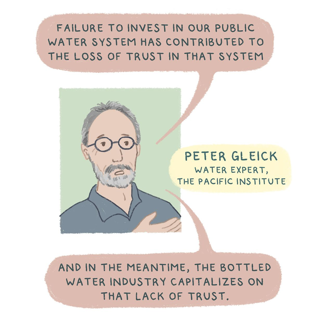 """""""""""Failure to invest in our public water system has contributed to the loss of trust in that system,"""" says water expert Peter Gleick from The Pacific Institute. """"And in the meantime, the bottled water industry capitalizes on that lack of trust."""""""