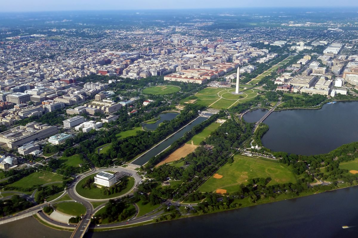 A city viewed from above. Monuments, buildings, and parks are shown.