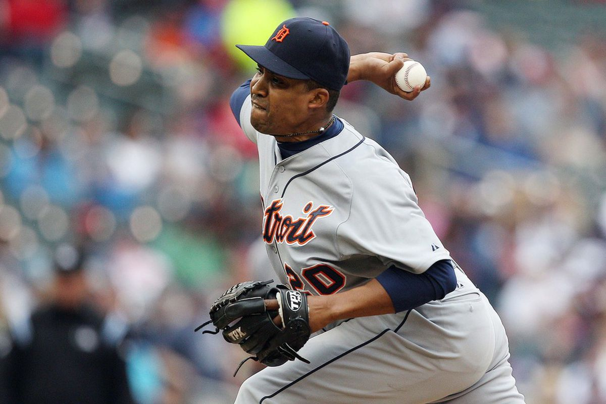 May 26, 2012; Minneapolis, MN, USA: Detroit Tigers relief pitcher Octavio Dotel (20) delivers a pitch in the seventh inning against the Minnesota Twins at Target Field. The Tigers won 6-3. Mandatory Credit: Jesse Johnson-US PRESSWIRE