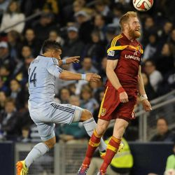 Real Salt Lake's Nat Borchers heads the ball in front of Sporting KC's Dom Dwyer during a game at Sporting Park in Kansas City, Kan., on Saturday, April 5, 2014.
