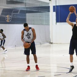 Former Kansas player Landen Lucas and University of Utah player Kyle Kuzma shoot cool-down shots after a workout with the Utah Jazz at their practice facility in Salt Lake City on Tuesday, May 23, 2017.