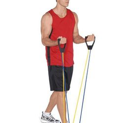 """<b>Resistance Bands.</b> Have a little more fun with these than this guy, please. Everlast resistance stretch bands, <a href=""""http://www.paragonsports.com/shop/en/Paragon/gear-5003526--1/fitness/everlast-pilates-stretch-bands-6148-eq7657mu--1"""">$18.99</a>"""
