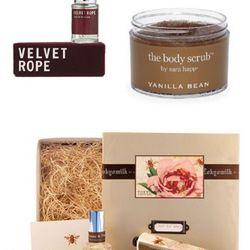 Apothia Velvet Rope Parfume .5 oz, $40.00. Sara Happ Vanilla Bean Body<br />Scrub, $40.00. Tokyo Milk Sweet Escape Gift Set, $46.00.<br />
