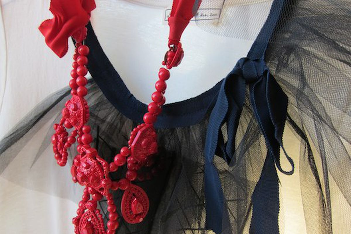 A really close-up shot of a Lanvin for H&M neckline