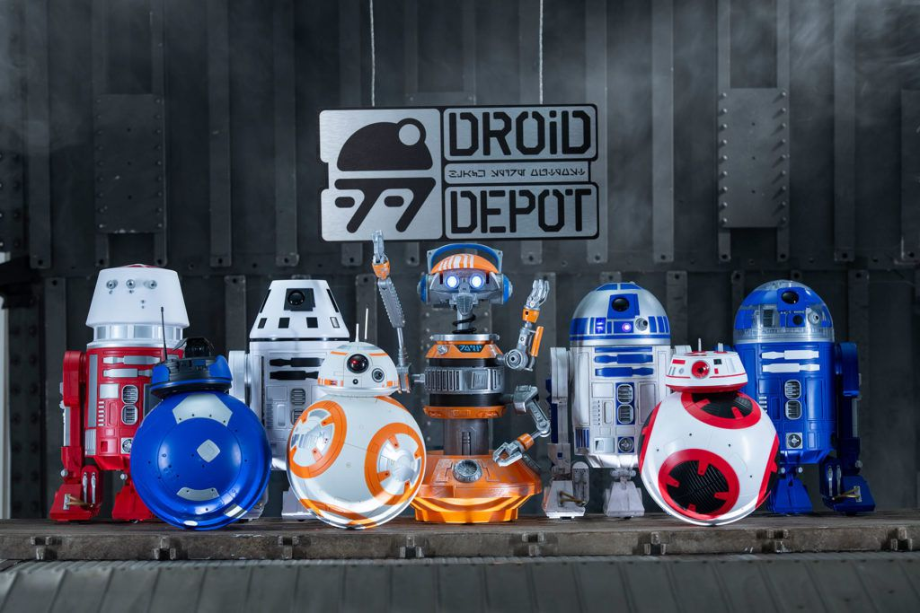 RX-24, the droid featured in the classic Star Tours ride, alongside a collection of custom droids cobbled together at Star Wars: Galaxy's Edge's Droid Depot.