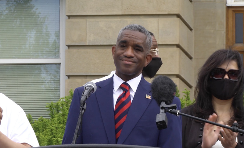 Ald. David Moore (17th) announces his run for the office of the Illinois Secretary of State earlier this month.