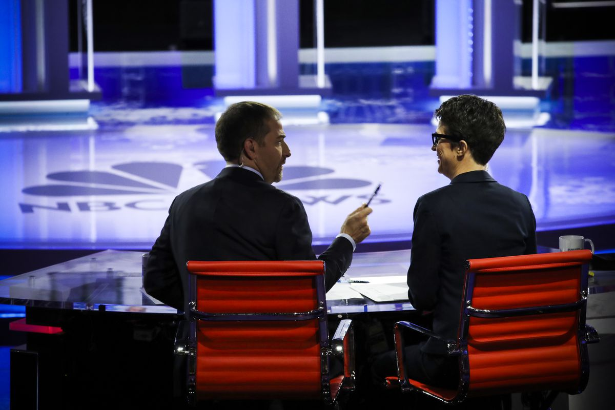 Moderators Chuck Todd of NBC News and Rachel Maddow of MSNBC talk during the second night of the first Democratic presidential debate on June 27, 2019 in Miami, Florida.