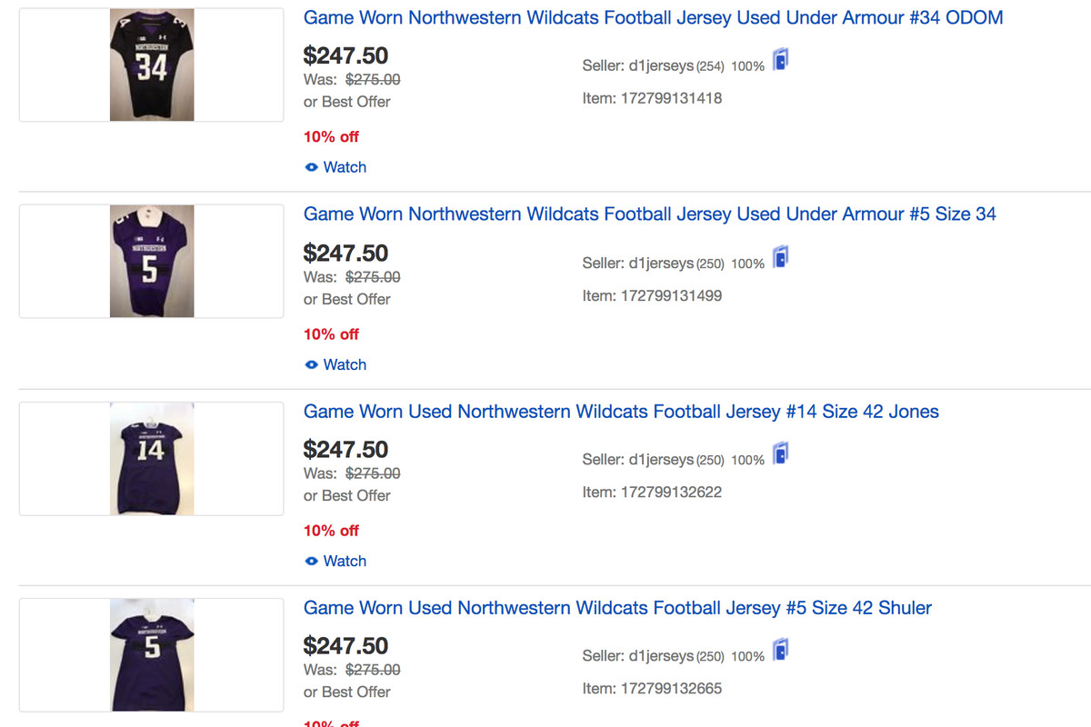 The strange game-worn Northwestern sports memorabilia market on EBay ... 619d12fe8