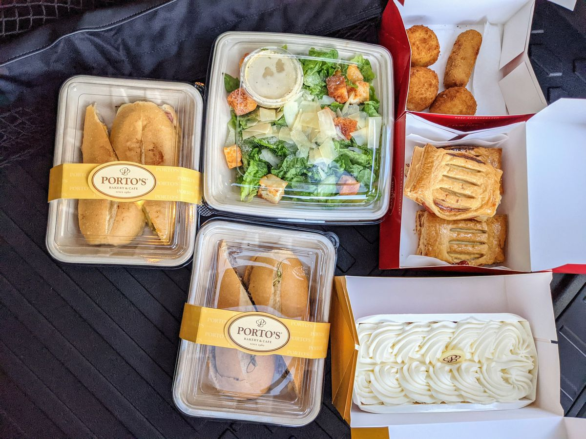For a well-planned takeout system with pan con lechon: Porto's Bakery.