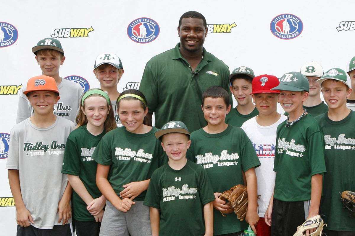 Tuesday, August 7, 2012 - Ryan Howard Poses For Pictures at Little League Challneger Event Sponsored By Subway.