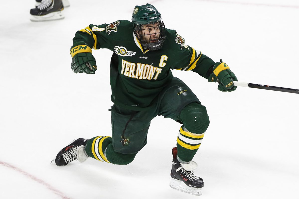 Chris McCarthy celebrates a goal in his team's NCAA East Regional semifinal loss to Vermont on Friday.