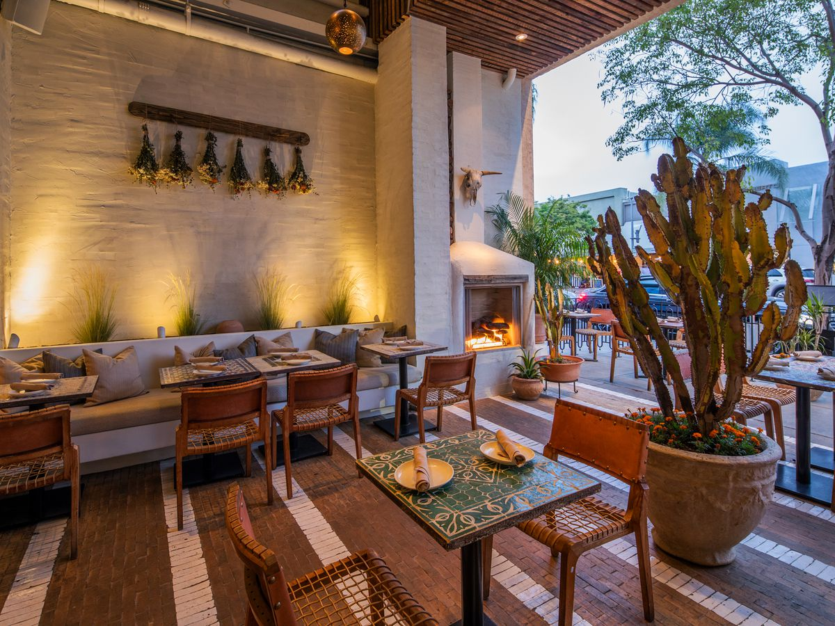 Indoor outdoor seating at Mirame Beverly Hills.