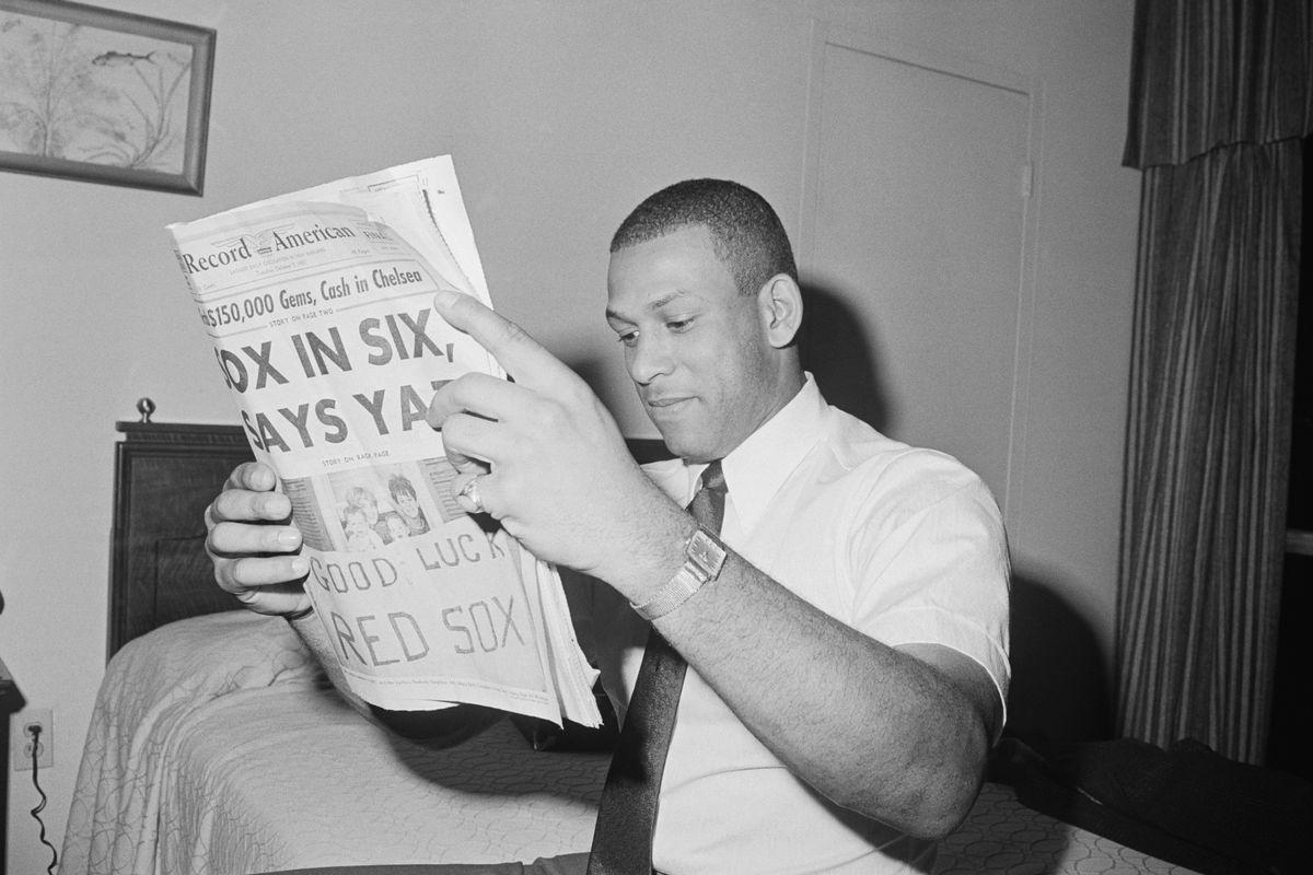 St. Louis Baseball Player Orlando Cepeda Reading Newspaper