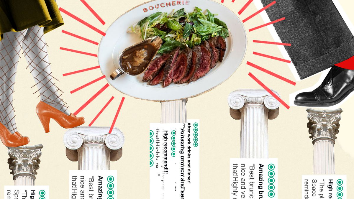 A collage with columns of varying sizes, with screenshots of TripAdvisor reviews on them.