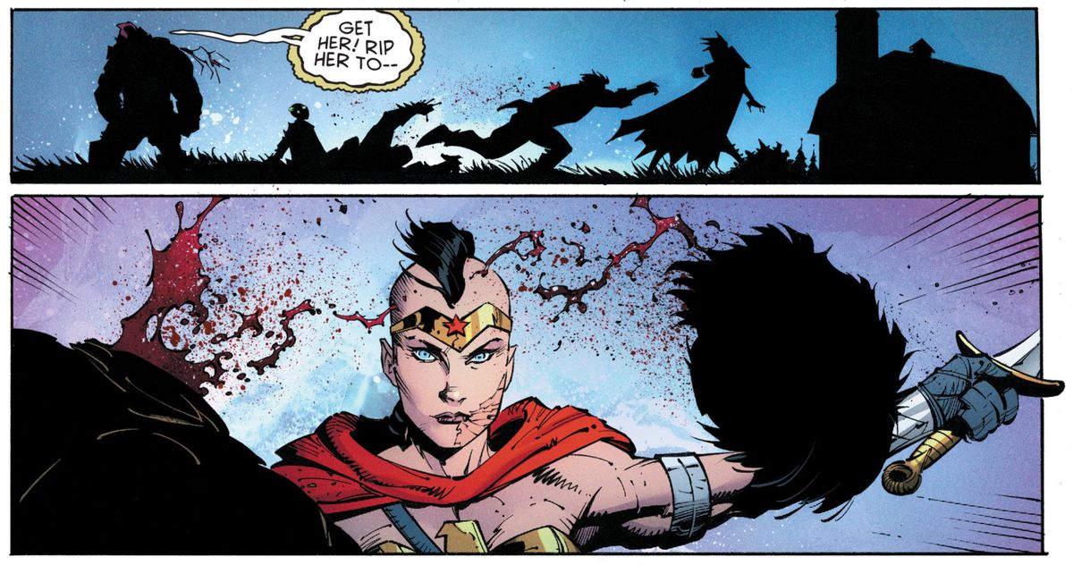 A stone-faced post-apocalypse style Wonder Woman, complete with a facial scar and a mowhawk, decapitates an opponent in one swing in Batman: Last Knight on Earth #2, DC Comics (2019).