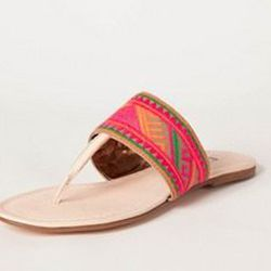 """<a href=""""http://www.cynthiavincent.net/shop/cart.php?m=product_detail&p=99""""> Cynthia Vincent embroidered thong sandal</a>, $198 cynthiavincent.com"""