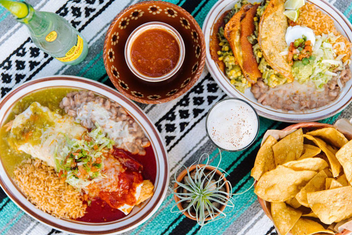 enchiladas, tacos, chips, and salsa