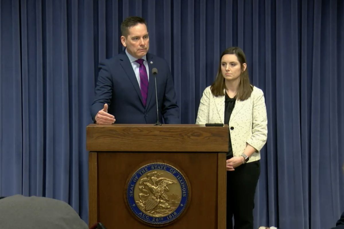 State Rep. Tim Butler, R-Springfield, left, and state Rep. Avery Bourne, R-Morrisonville, hold a news conference in Springfield on Wednesday