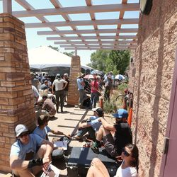 Overflow areas are filled with those that couldn't get inside for a meeting with Interior Secretary Sally Jewell in Bluff talking about the proposed Bears Ears National Monument in southern Utah on Saturday, July 16, 2016.