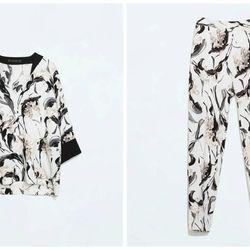 """Zara floral print top, <a href=""""http://www.zara.com/us/en/woman/tops/floral-print-top-c269186p2158009.html"""">$59.90</a>; floral print trousers, <a href=""""http://www.zara.com/us/en/woman/trousers/flower-print-trousers-c269187p2125015.html"""">$59.90</a>"""