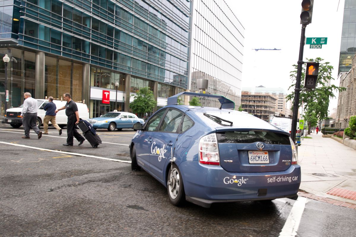 Google's self-driving car, during a trial in Washington, DC.